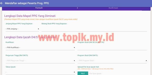 formulir pendaftaran PPG